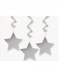 3 Decorazioni da appendere stelle argentate