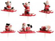 Set di 6 decorazioni per torte slitta di Babbo Natale