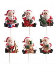 Set di 6 decorazioni per torte Babbo Natale