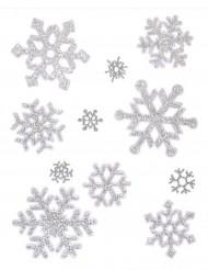 Decorazione natalizia finestre fiocchi di neve argentati