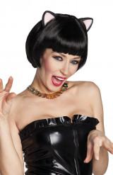 Parrucca nera corta con orecchie di gatto da donna