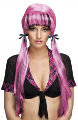 Image of Parrucca con codini rosa e nera da adulto