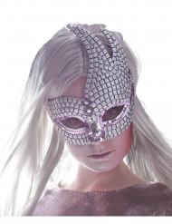 Maschera veneziana brillante argentata