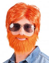 Parrucca con barba e baffi rossa