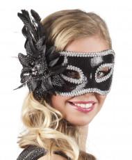 Maschera veneziana con fiore nero per adulti