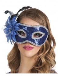 Maschera veneziana con fiore blu per adulti