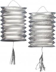 2 lampioni argentati