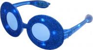 Occhiali ovali con paillettes blu e led luminosi