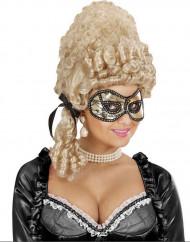 Maschera dorata con pizzo nero adulto