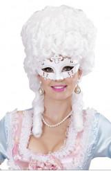 Maschera veneziana bianca con strss per adulti