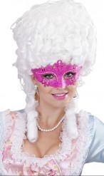 Mascherina veneziana con strass rosa da adulti
