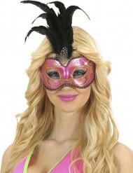 Maschera rosa e oro con piume adulto