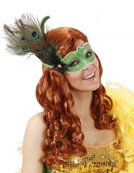 Maschera verde con piume di pavone adulto