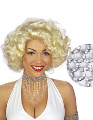 Girocollo di perle argentate per donna