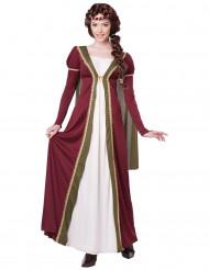 Costume dama medievale bianco e bordeaux donna