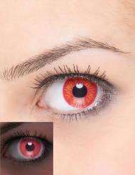 Trucco Halloween: lenti a contatto rosse con fiamme gialle adulto