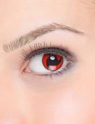 Trucco Halloween: lenti a contatto elica nera su fondo rosso adulto