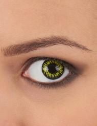Trucco Halloween: lenti a contatto gialle con bordo nero