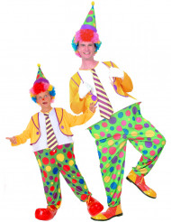 Costume di coppia clown a pois padre e figlio