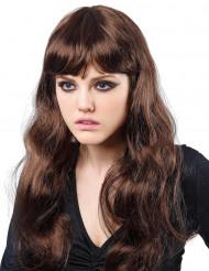 Parrucca castana ondulata donna