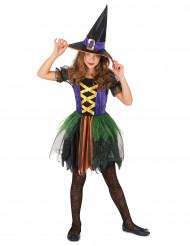 Costume strega colorata bambina con velo