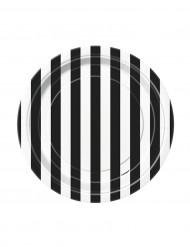 8 piatti cartone a righe bianco e nero