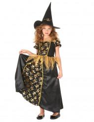 Costume streghetta nero oro bambina
