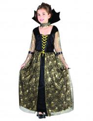 Costume Strega ragno nero e oro bambina