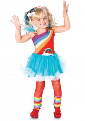 Costume arcobaleno con cerchietto e scaldamuscoli bambina