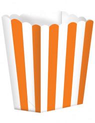 5 contenitori pop corn arancioni