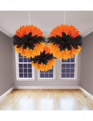 Set tre decorazioni arancione e nero