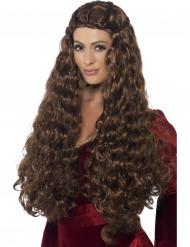 Parrucca lunga castana donna