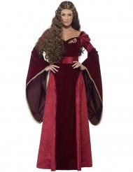 Costume regina medievale rosso adulto