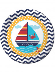 Confezione di 8 piatti tema marinaio