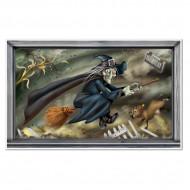 Decorazione Halloween: quadro con strega volante