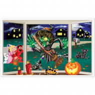 Decorazione murale di Halloween: strega schiacciata contro la finestra