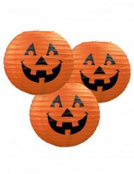 3 lanterne zucca di carta Halloween