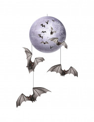 Decorazione da appendere luna e pipistrelli di Halloween