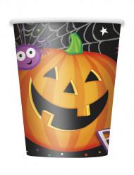 8 bicchieri di cartone zucca Halloween