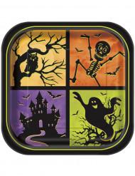 8 piatti quadrati in cartone Halloween