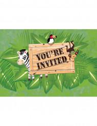Confezioni di 8 inviti per festa di compleanno  Safari aventure