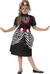 Costume scheletro a righe bambina Halloween