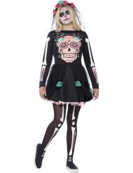 Costume scheletro colorato ragazza Halloween