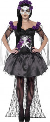Costume scheletro con rose viola donna Halloween