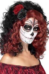 Parrucca media lunghezza nera e rossa con fiori
