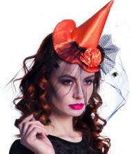 Mini capello da strega arancione donna Halloween
