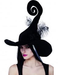 Cappello da strega nero con piume Halloween