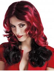 Parrucca media lunghezza mossa nera e rossa adulto