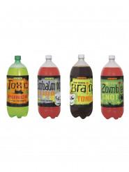 Decorazione di Halloween: 4 etichette mostruose per bottiglia