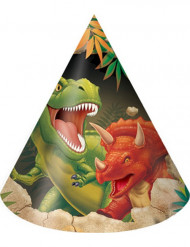 8 cappellini per festa Dinosauro